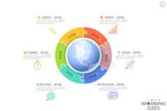 Sześć wyrzynarki łamigłówki kawałków umieszczających wokoło planety ziemi Cechy międzynarodowy rozwój, globalni rozwoje biznesu Zdjęcie Stock