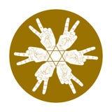 Sześć zwycięstwo ręk abstrakcjonistycznych symboli/lów z heksagonalną gwiazdą, wektoru sp Fotografia Stock