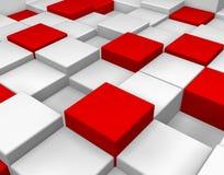 Sześcianów 3D biel i czerwień Fotografia Royalty Free