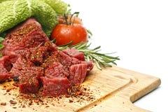 sześcianów mięsa pokrojeni warzywa Obraz Royalty Free