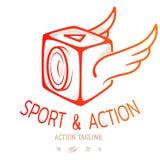 Sześcian akci kamera z skrzydłami Colour emblemat dla loga wideo blog lub bawi się akcję wektor ilustracja wektor