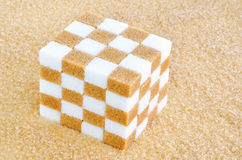 Sześcian brown i białego cukieru sześciany Zdjęcia Stock