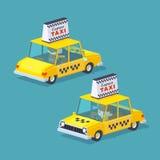 Sześcianu świat Żółta taksówka ilustracja wektor