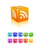 sześcianu ikony rss ustawiający Zdjęcia Stock