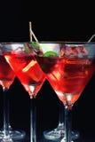 sześcianu szkła lodu Martini oliwka Fotografia Royalty Free