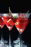 sześcianu szkieł lodowa Martini oliwka Obraz Stock
