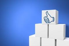 Sześciany z kciukiem up dla ogólnospołecznego networking Obraz Stock