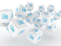 Sześciany z a lubią, 3D wizerunki Zdjęcie Stock