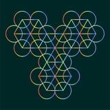 Sześciokąt i okręgu konturu wzór, Święty geometrii tło dla alchemii, duchowość, religia, filozofia, astrologia emblemat ilustracja wektor