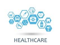 Sześciokąta abstrakt Medycyny tło z liniami, wieloboki, i integruje płaskie ikony Infographic pojęcie medyczny Zdjęcie Royalty Free