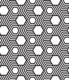 Sześciokąty, czarny i biały abstrakcjonistyczny geometryczny bezszwowy klepnięcie Ilustracji