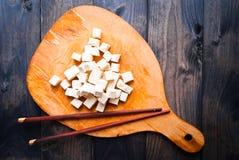 Sześciany surowy tofu Obrazy Royalty Free