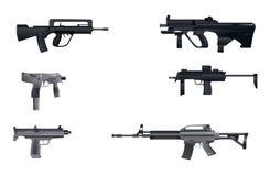 Sześć maszynowych pistoletów Zdjęcia Royalty Free