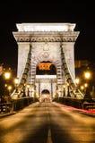 Szechenyi铁锁式桥梁,布达佩斯门户  免版税库存图片