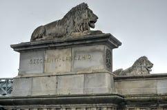 Szechenyi铁锁式桥梁-布达佩斯,匈牙利 免版税库存照片