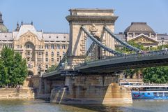 Szechenyi铁锁式桥梁-布达佩斯 免版税库存图片