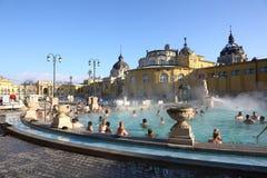 Szechenyi bad i Budapest, Ungern, 7 Januari 2016 Arkivfoton
