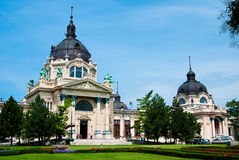 The Szechenyi bath. The Szechenyi spa the Varosliget (main city park of Budapest Stock Photo