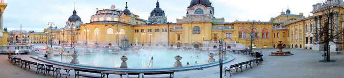 The Szechenyi bath. The Szechenyi spa the Varosliget, main city park of Budapest royalty free stock photo