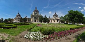 Szechenyi Bath. Garden in front of Szechenyi Bath in Budapest Royalty Free Stock Image