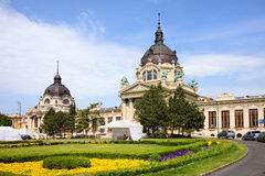 Szechenyi Baths in Budapest. Szechenyi Medicinal Thermal Baths and Spa Neo-Baroque architecture in Budapest, Hungary Royalty Free Stock Photography