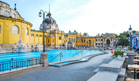 Szechenyi Baths in Budapest in Hungary on a sunny day. Stock Image