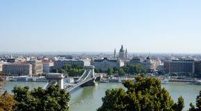 Szechenyi Bridge across the Danube in Budapest, Hungary, Europe Royalty Free Stock Photography