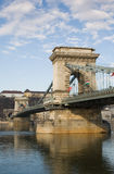 The Szechenyi Bridge in bright morning sunlight. Stock Photo