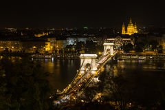 Szechenyi Bridge in Budapest Hungary. Beautiful bridge over the Danube. Best bridge in Budapest. Night view of bridge. Szechenyi Bridge in Budapest Hungary Stock Photography