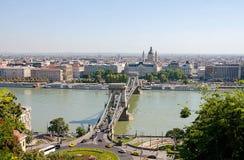 Szechenyi Bridge in Budapest, Hungary, Europe . Stock Image
