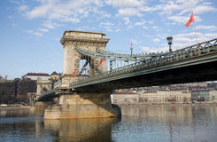 The Szechenyi Bridge from the Pest side. Royalty Free Stock Images