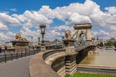 The Szechenyi Chain Bridge is a beautiful, decorative suspension Stock Photo