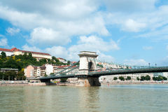 The Szechenyi Chain Bridge is a beautiful, decorative suspension Stock Photo