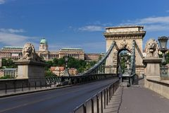 Szechenyi Chain Bridge and Buda Castle. Széchenyi lánchíd or Szechenyi Chain Bridge is a suspension bridge that spans the River Danube between Buda and Pest Royalty Free Stock Images
