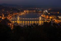 Szechenyi Chain Bridge in Budapest. Night panorama of budapest with chain bridge Royalty Free Stock Photos
