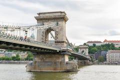 Szechenyi or Chain Bridge in Budapest capital city of Hungary.  royalty free stock image