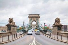The Szechenyi Chain Bridge in Budapest Stock Photos