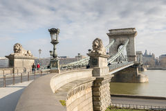 The Szechenyi Chain Bridge in Budapest, Hungary. The Szechenyi Chain Bridge is a suspension bridge that spans the River Danube between Buda and Pest. The Royalty Free Stock Photography