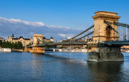 Szechenyi Chain Bridge in Budapest Stock Images