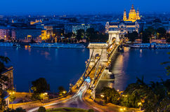 Szechenyi Chain Bridge and Danube night, Budapest stock photos