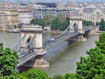 Szechenyi Chain Bridge on Danube River, Budapest Stock Images