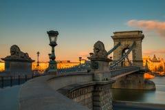 Szechenyi Chain Bridge. Image of Chain Bridge in Budapest - Hungary during sunset royalty free stock photography