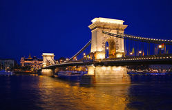Szechenyi Chain Bridge In Budapest Stock Image