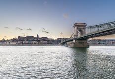 The Szechenyi Chain Bridge in Budapest, Hungary. royalty free stock photo
