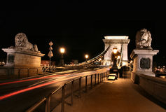 Szechenyi chain bridge night Stock Photo