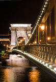 Szechenyi Chain Bridge night detail, Budapest Royalty Free Stock Image