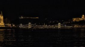 The Szechenyi Chain Bridge at night, spanning the River Danube between Buda and Pest. Pictured is The Szechenyi Chain Bridge at night, spanning the River Danube royalty free stock photos