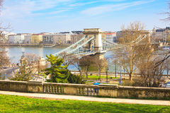 The Szechenyi Chain Bridge over Danube, Budapest Royalty Free Stock Photos