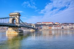Szechenyi Chain bridge over Danube river, Budapest, Hungary royalty free stock photos