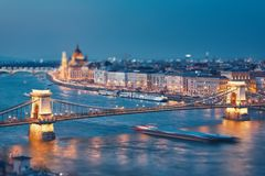 Budapest at twilight. Szechenyi chain bridge and Parliament building at twilight. Budapest, Hungary royalty free stock images